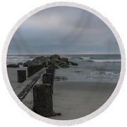 Storm Clouds Brewing Round Beach Towel