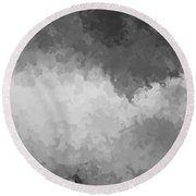Storm Clouds Over A Cornfield Bw Round Beach Towel