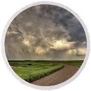 Storm Clouds Prairie Sky Saskatchewan Round Beach Towel
