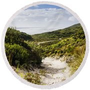 Strahan Coast Landscape Winding To The Ocean Round Beach Towel