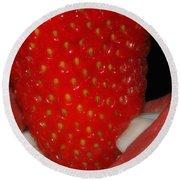 Strawberry Lips Round Beach Towel by Joann Vitali
