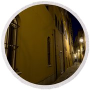 Street Alley By Night Round Beach Towel