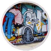 Street Art Valparaiso Chile 15 Round Beach Towel