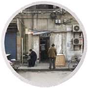 Street Food Stall In Shanghai China Round Beach Towel