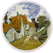 Street In Auvers-sur-oise Round Beach Towel