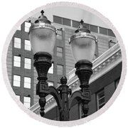 Streetlights - Lansing Michigan Round Beach Towel