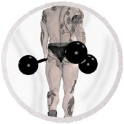 Strongest Man Tattooed Round Beach Towel