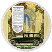 Studebaker Big Six - Vintage Car Poster Round Beach Towel