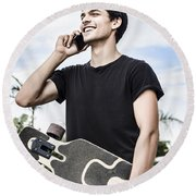 Student Talking To A Friend On Mobile Smartphone Round Beach Towel