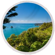 Subtropical Forest Of Abel Tasman Np In New Zealand Round Beach Towel