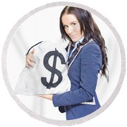 Successful Business Woman Holding Bags Of Money Round Beach Towel