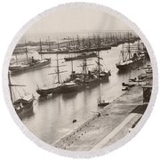 Suez Canal Port Said Round Beach Towel