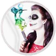 Sugar Skull Girl Blowing On Smoking Gun Round Beach Towel