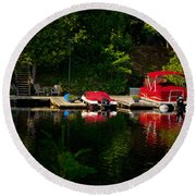Summer Morning On Muskoka River Round Beach Towel