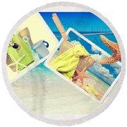 Summer Postcards Round Beach Towel by Amanda Elwell