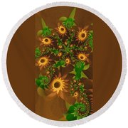 Summer's Last Sunflowers Round Beach Towel