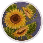 Sunflower Burst 1 Round Beach Towel