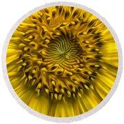 Sunflower In Oil Paint Round Beach Towel