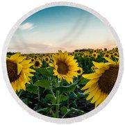 Sister Sunflowers Round Beach Towel