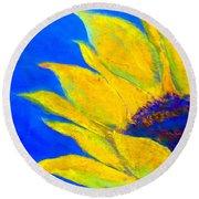 Sunflower In Blue Round Beach Towel