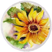 Sunflower Watercolor Round Beach Towel