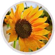 Sunflower With Texture Round Beach Towel
