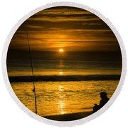 Sunrise Fishing Round Beach Towel