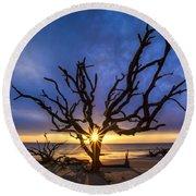 Sunrise Jewel Round Beach Towel by Debra and Dave Vanderlaan