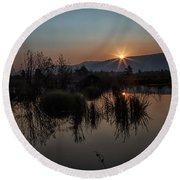 Sunrise Over The Beaver Pond Round Beach Towel