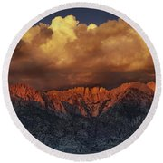 Sunrise Storm Alabama Hills California  Round Beach Towel
