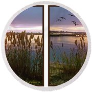 Sunset At Fort Smallwood Round Beach Towel