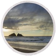 Sunset At Holywell Bay Round Beach Towel