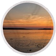 Sunset At Loch Bay Round Beach Towel