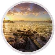 Sunset Light Round Beach Towel by Debra and Dave Vanderlaan