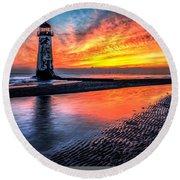Sunset Lighthouse Round Beach Towel