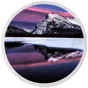 Sunset Mount Rundle Round Beach Towel