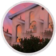 Sunset On Houses Round Beach Towel by Augusta Stylianou