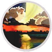 Sunset On The Island Round Beach Towel