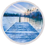 Sunset Over Lake Wylie At A Dock Round Beach Towel