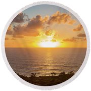 Sunset Over The Pacific Ocean, Torrey Round Beach Towel