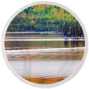 Sunset Reflections On Boreal Forest Lake In Yukon Round Beach Towel