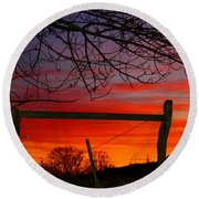 Sunset Tree Round Beach Towel