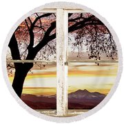 Sunset Tree Silhouette Abstract Picture Window View Round Beach Towel by James BO  Insogna
