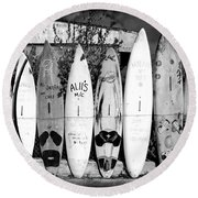 Surf Board Fence Maui Hawaii Round Beach Towel by Edward Fielding