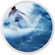 Surfer Carving On Splashing Wave, Interesting Perspective And Blur Round Beach Towel