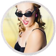 Surprised Pinup Girl On Tropical Beach Background Round Beach Towel