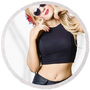 Surprised Pinup Woman Isolated On White Round Beach Towel