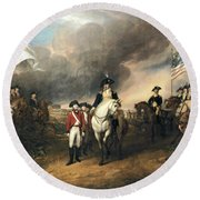 Surrender Of Lord Cornwallis Round Beach Towel by John Trumbull