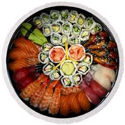 Sushi Party Tray Round Beach Towel