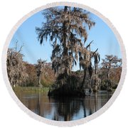 Walkula Springs Reflection Round Beach Towel